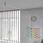 Mobile Plexiglas-Schutzwand zum Abhängen von Decken